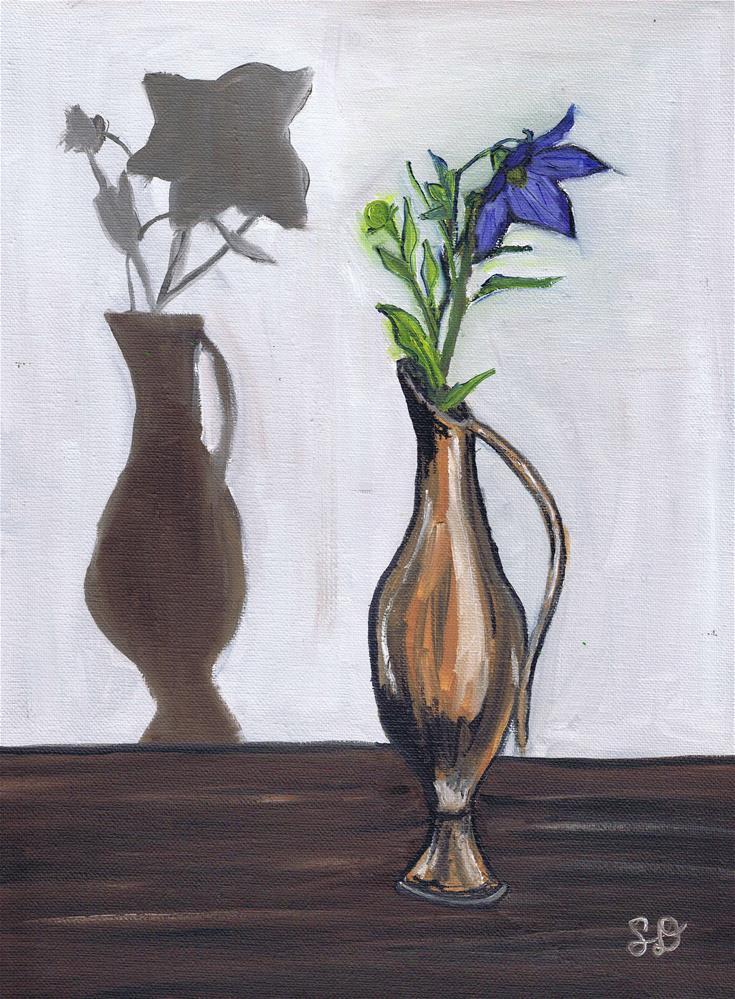 """""""Purple Flower in Vase with Shadow"""" original fine art by Samara Doumnande"""