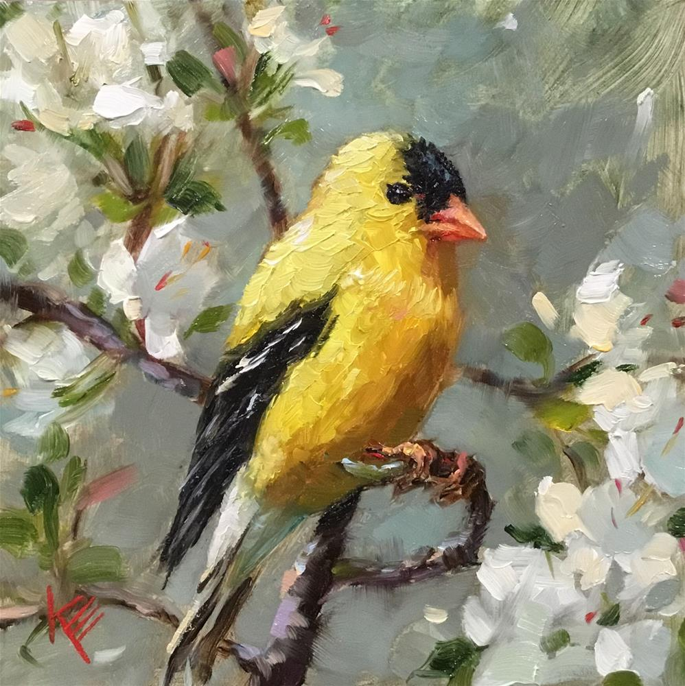 """American Goldfinch & Blossoms"" original fine art by Krista Eaton"