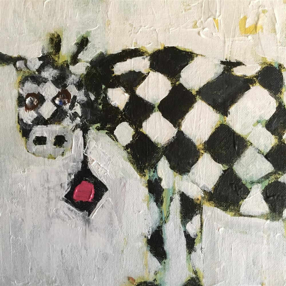 """Uptown moo"" original fine art by pamela kish"