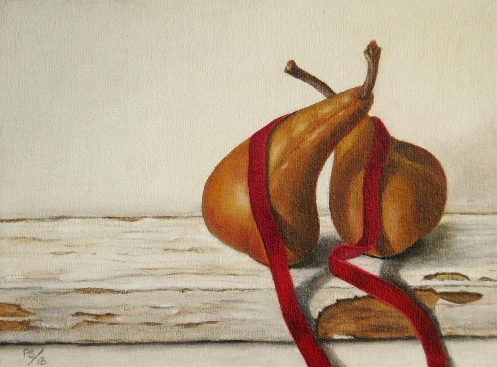 """""""Two Beurre Bosc Pears"""" original fine art by Pera Schillings"""