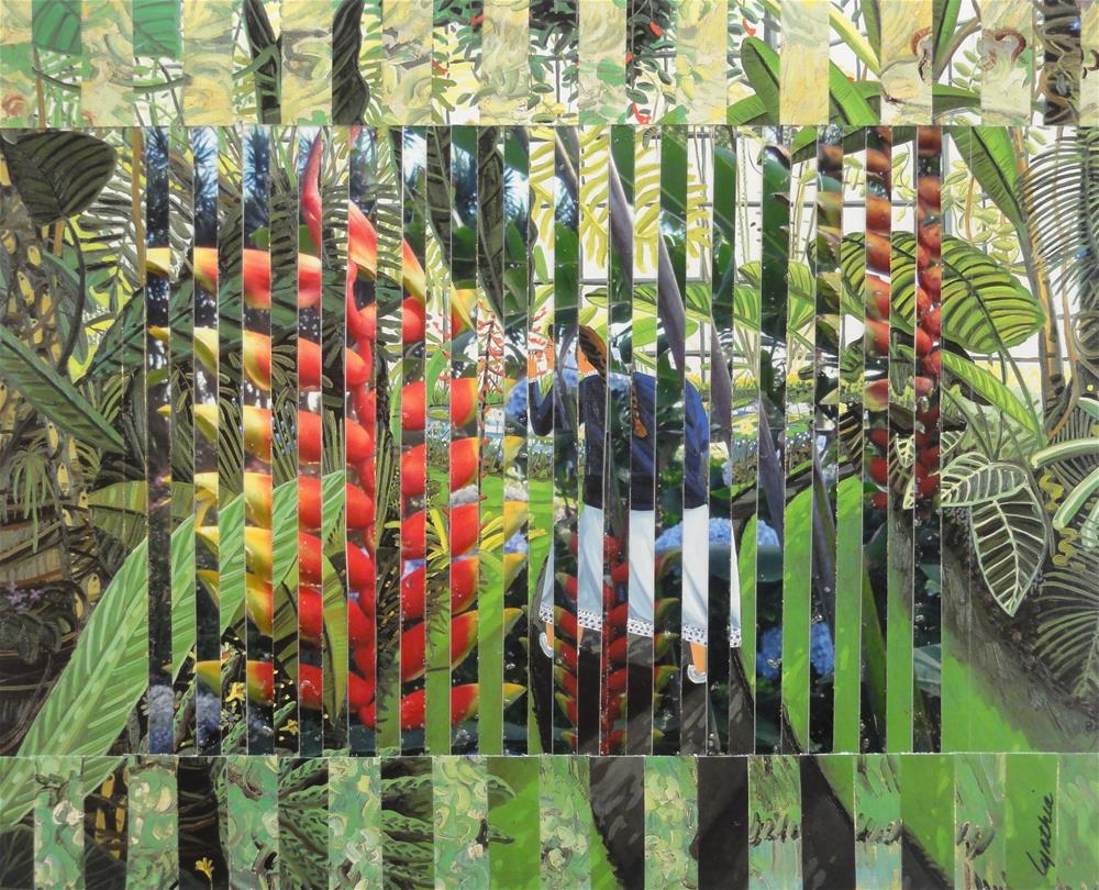 """Sniffing Heliconia Pendula in the Conservatory"" original fine art by Cynthia Frigon"