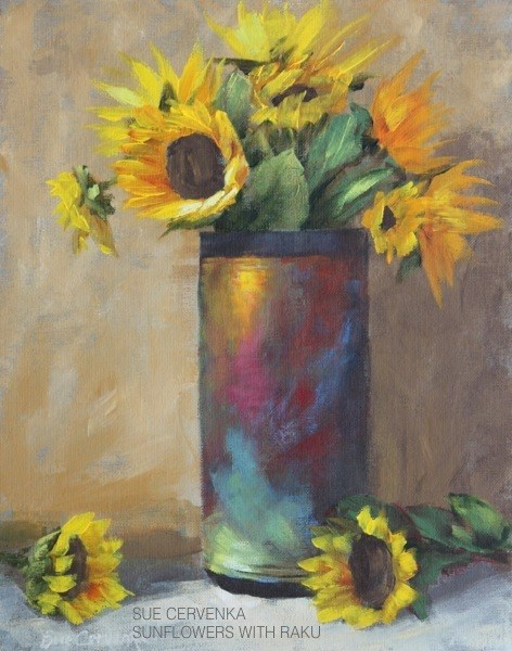 """Sunflowers with Raku"" original fine art by Sue Cervenka"