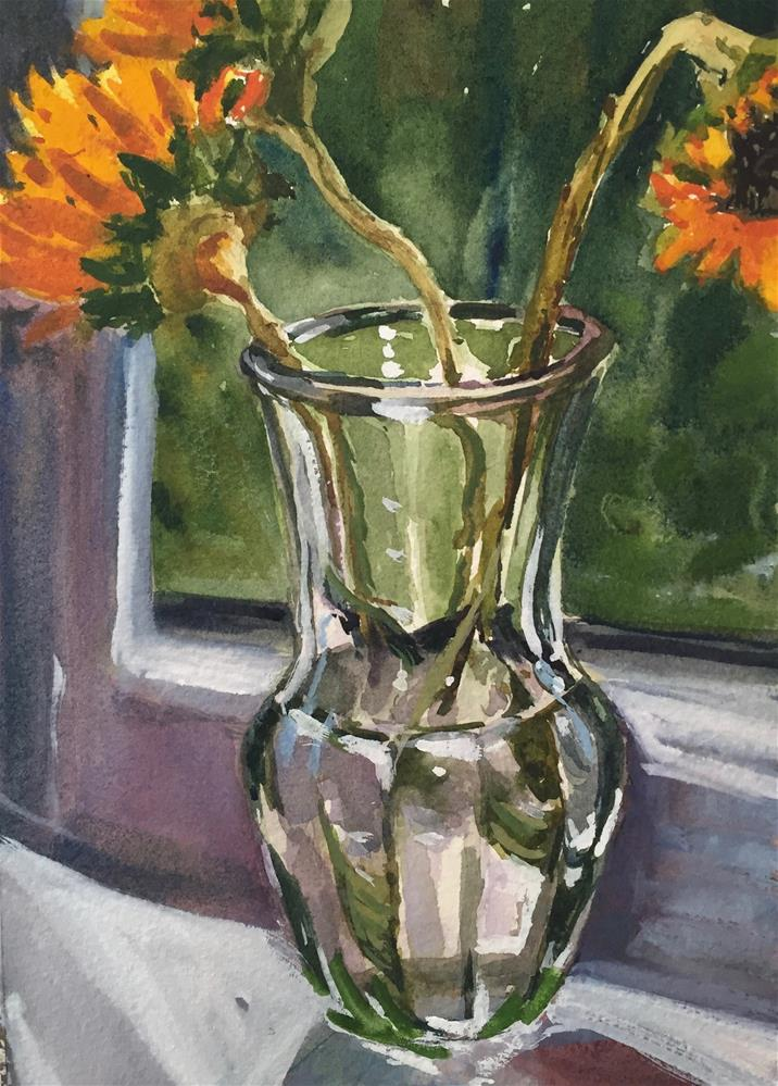 """Sunflowers in Window"" original fine art by Laurie Maher"