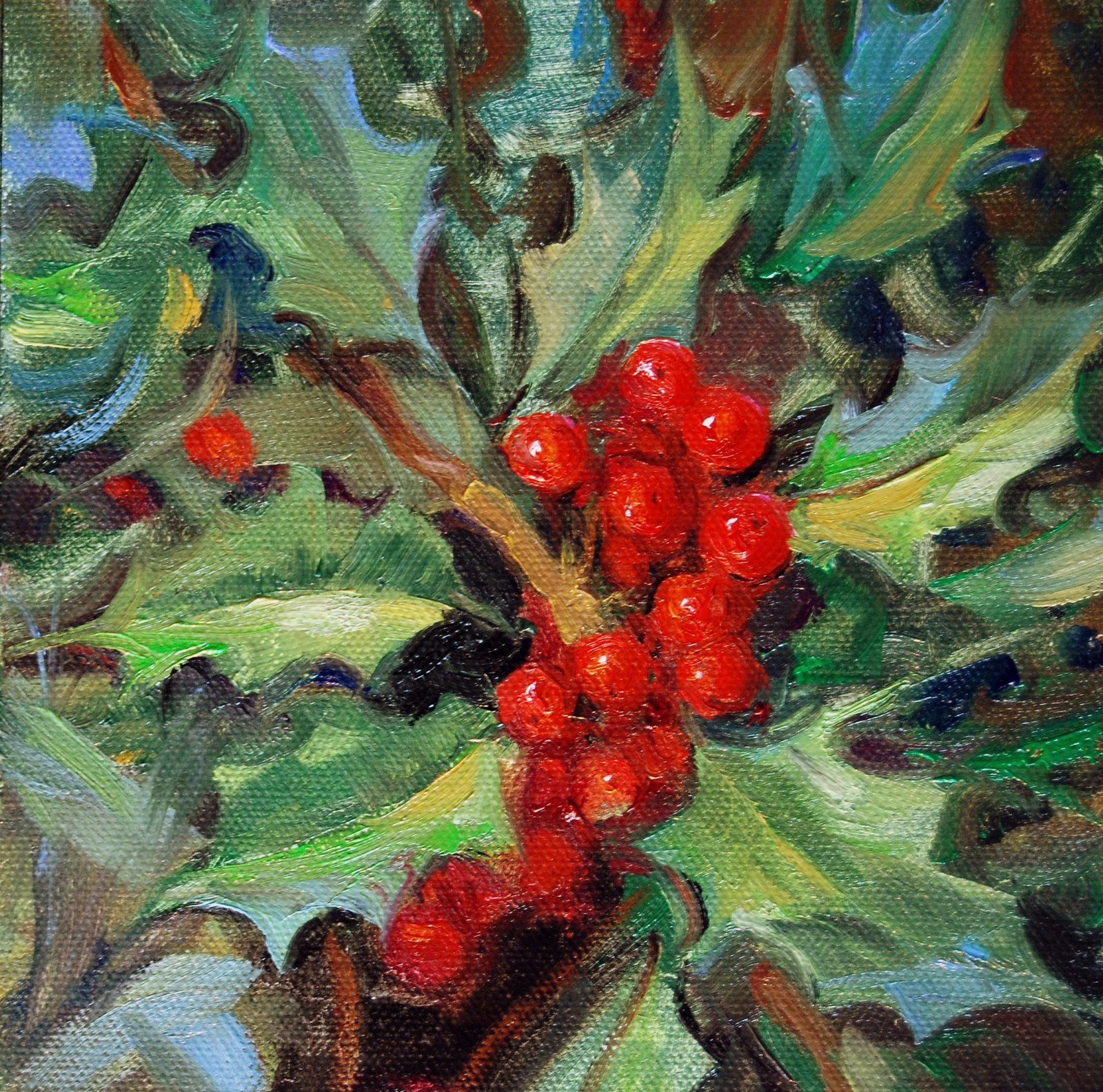 """Finally -  The Holly!"" original fine art by Julie Ford Oliver"