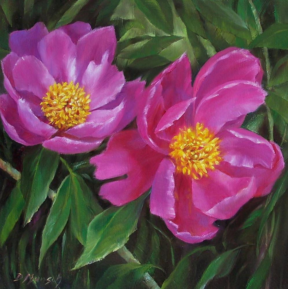 """Peony Sisters"" original fine art by Donna Munsch"
