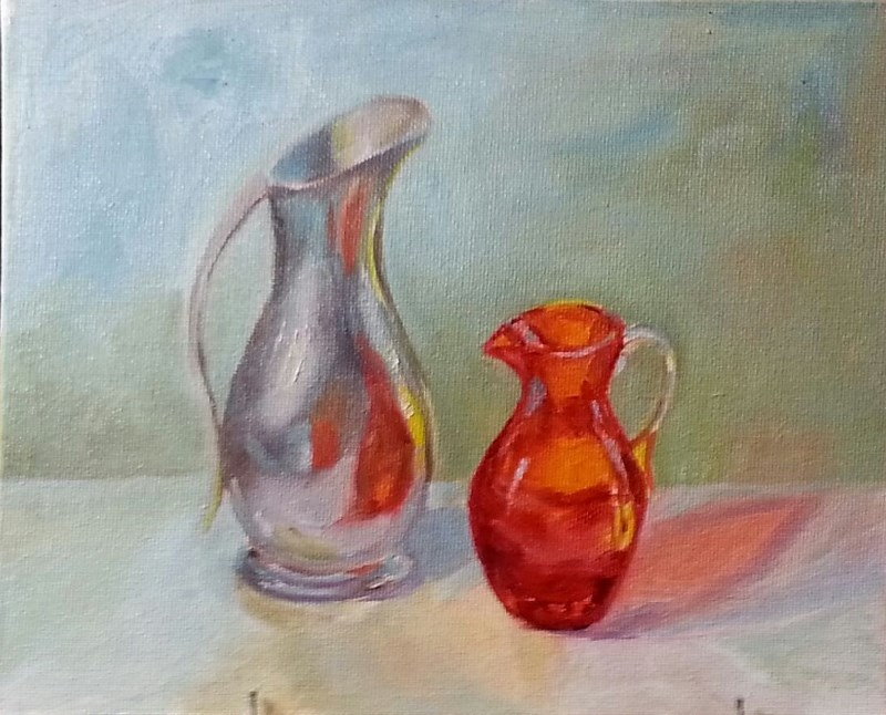"""Prized Pitchers"" original fine art by Christine Lewis"