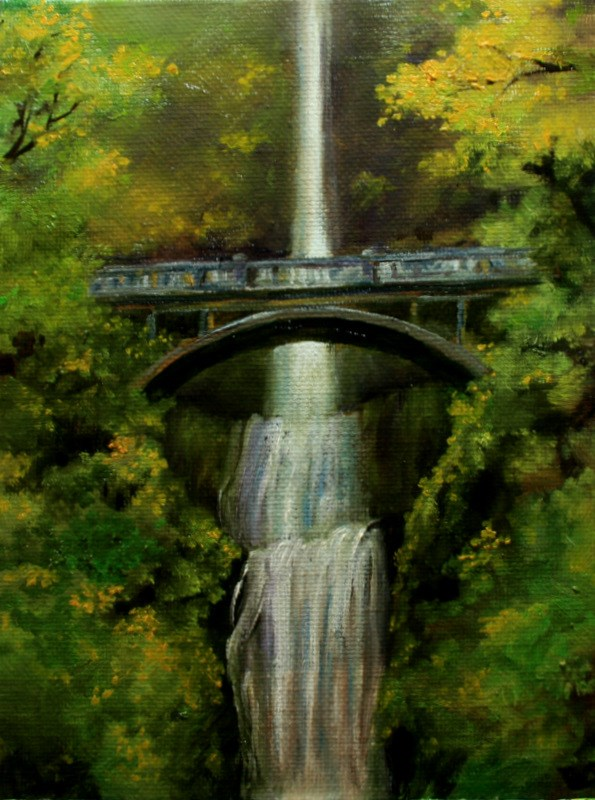 """Bridge Over Multnomah Falls"" original fine art by Jean Nelson"