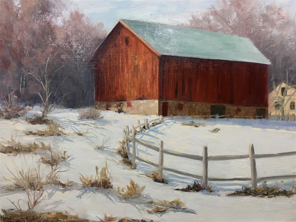"""Mineral Point Barn"" original fine art by Judith Anderson"