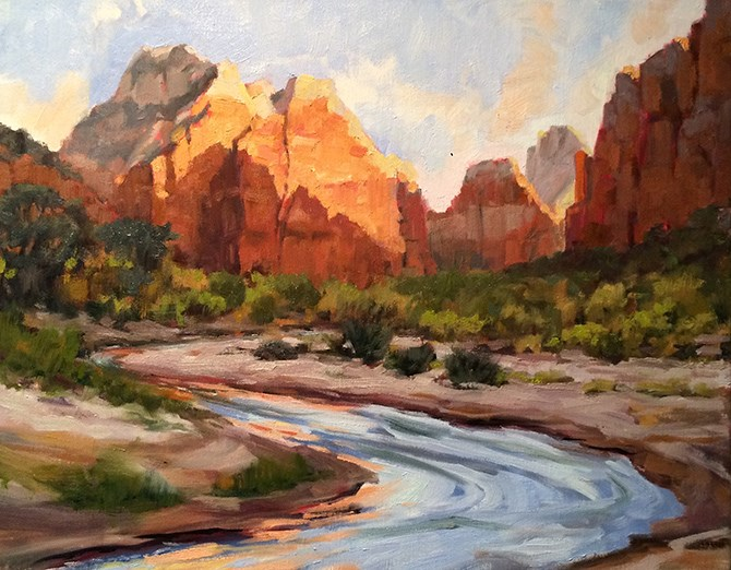 """Sunrise at Zion"" original fine art by Deborah Newman"
