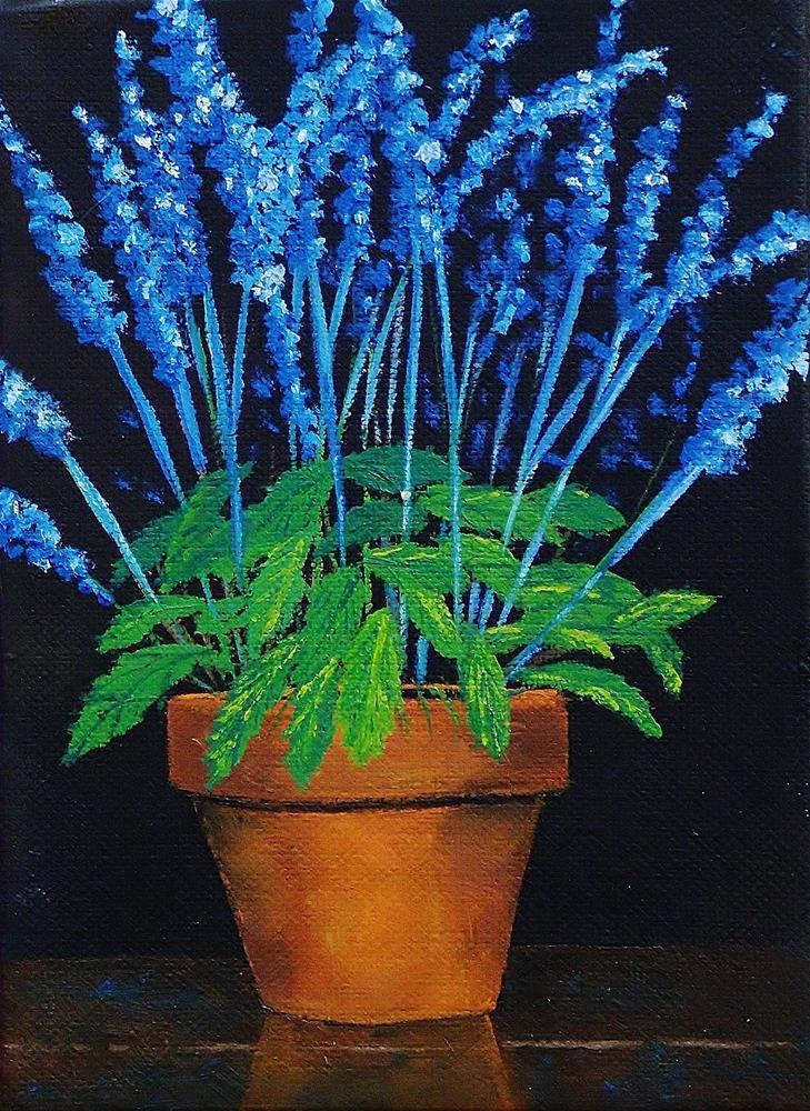 """Terracotta and Delphinium"" original fine art by Mike Caitham"