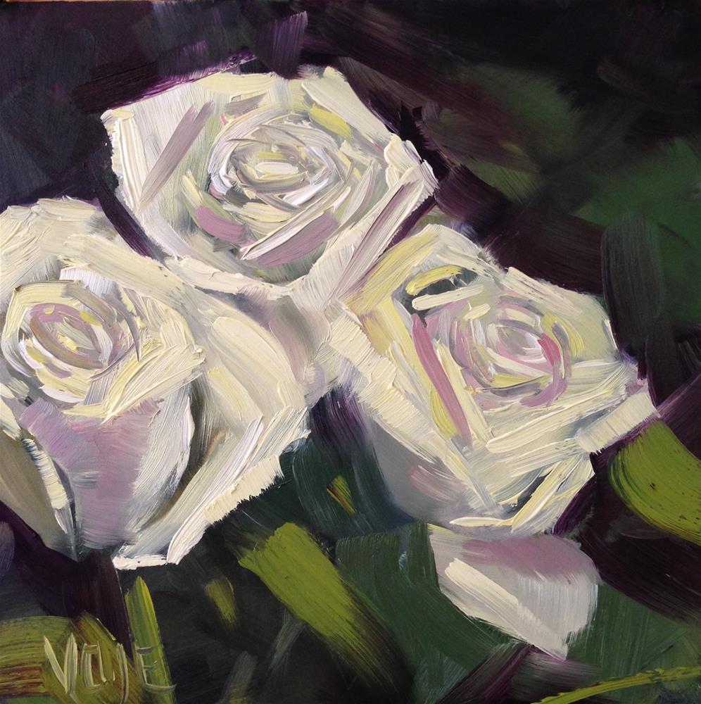 """""""#98 White Roses"""" original fine art by Patty Voje"""