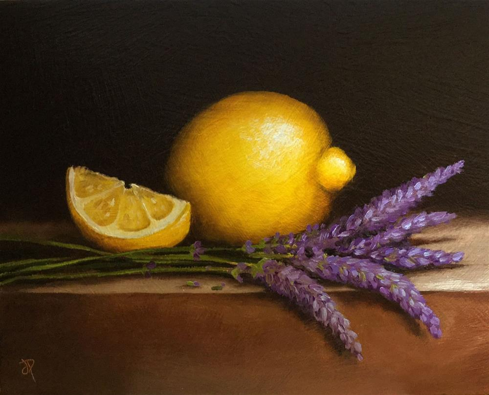 """Lemons with Lavender"" original fine art by Jane Palmer"