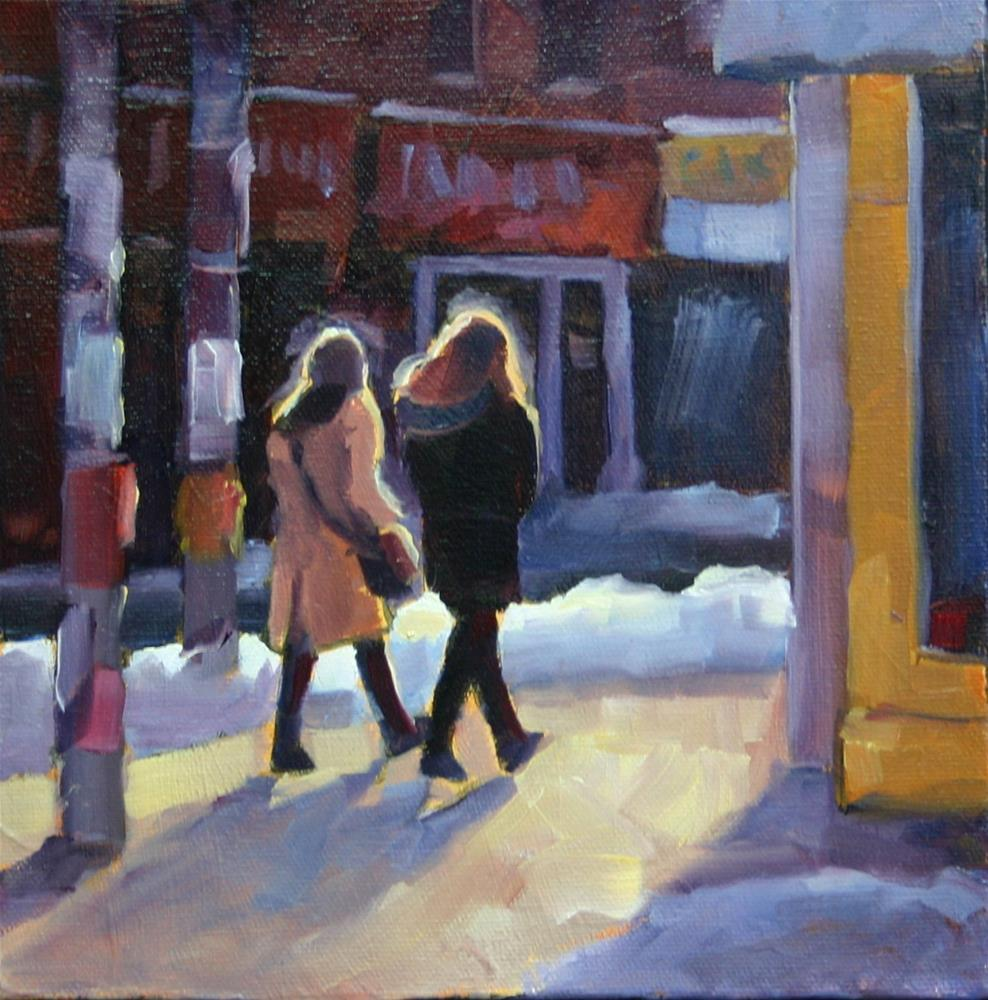 """Queen Street Shoppers and March Sun"" original fine art by Catherine Jeffrey"