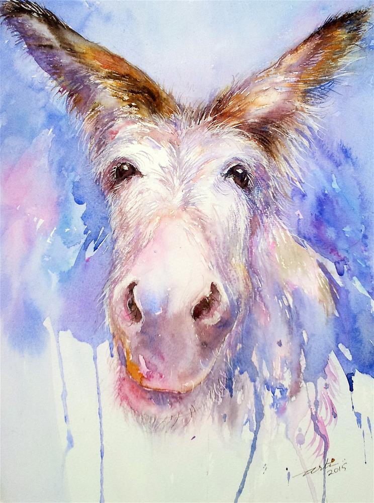 """A Happy Day_Donkey"" original fine art by Arti Chauhan"