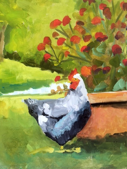 """Hen & Amaranth"" original fine art by Susan Elizabeth Jones"