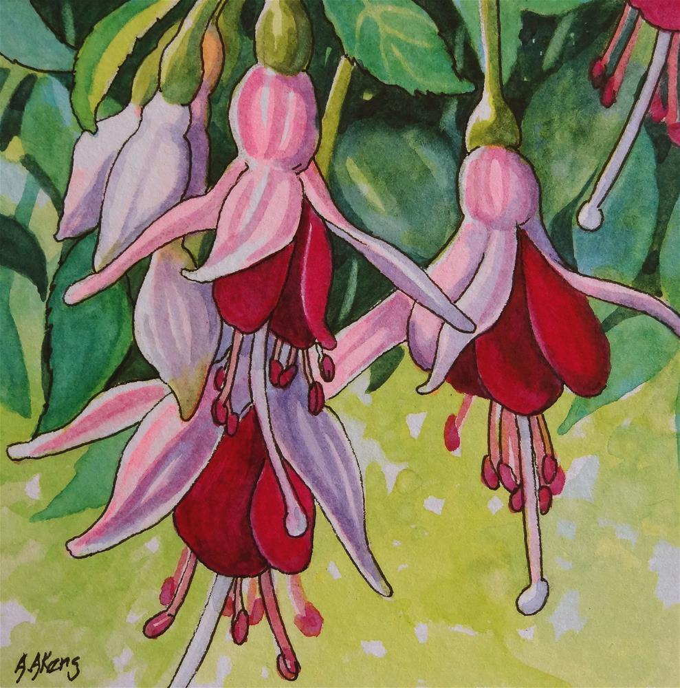 """Storybook Cottage Flowers-Fuchsia"" original fine art by Alida Akers"