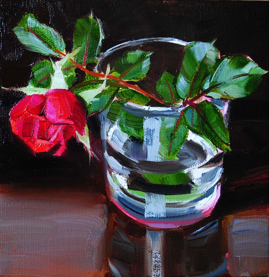 """""""Rose Bud"""" original fine art by Elena Katsyura"""