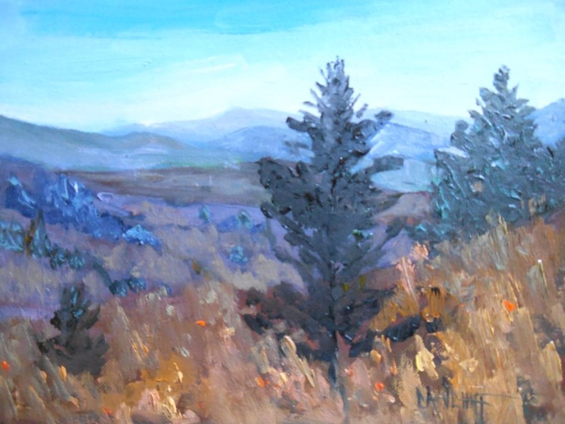 """""""Daily Painting, Small Oil Painting, Mountain Landscape Painting, 6x8 Oil, High in the Sky"""" original fine art by Carol Schiff"""