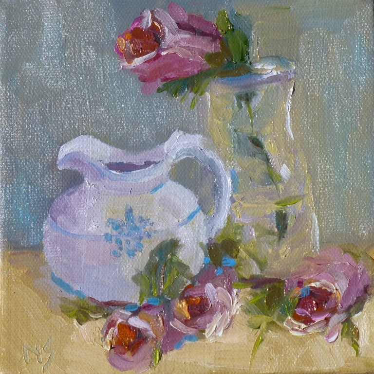 """Pitcher with Blue 14031"" original fine art by Nancy Standlee"