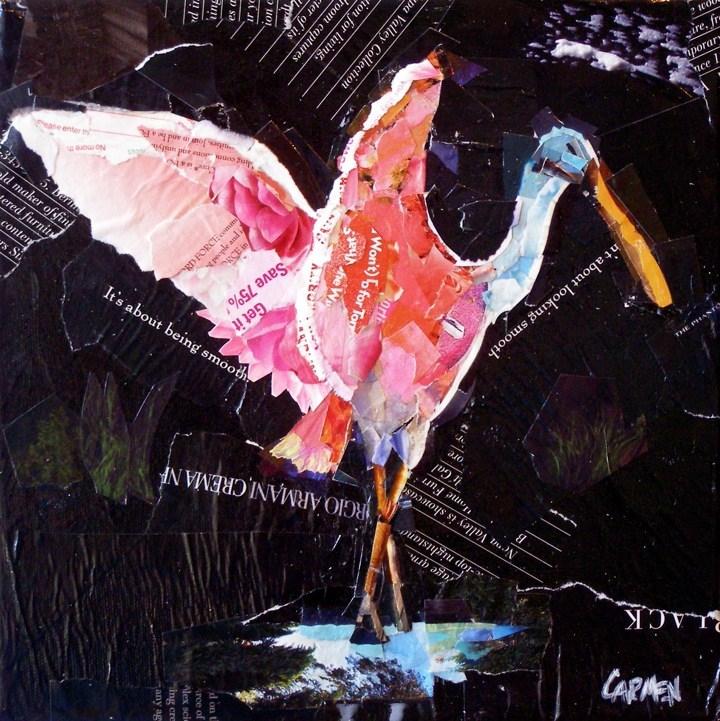 """Spoonbill Ballet, 10x10 Collage on Canvas"" original fine art by Carmen Beecher"