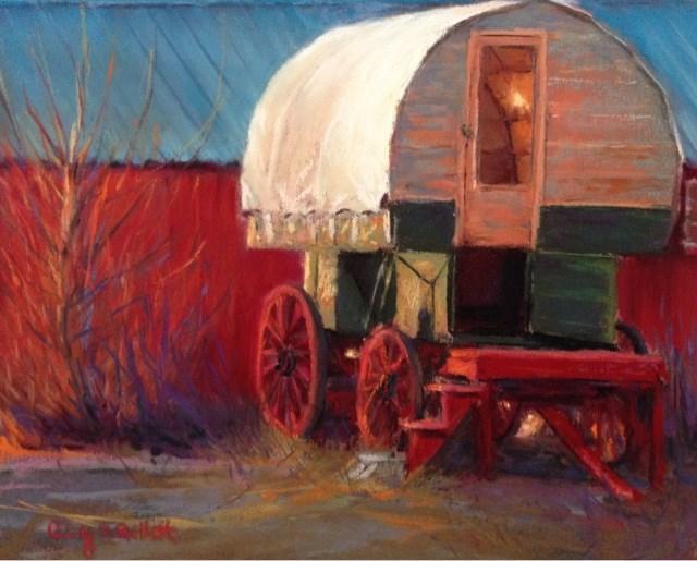 """Sheep Herder's Wagon"" original fine art by Cindy Gillett"