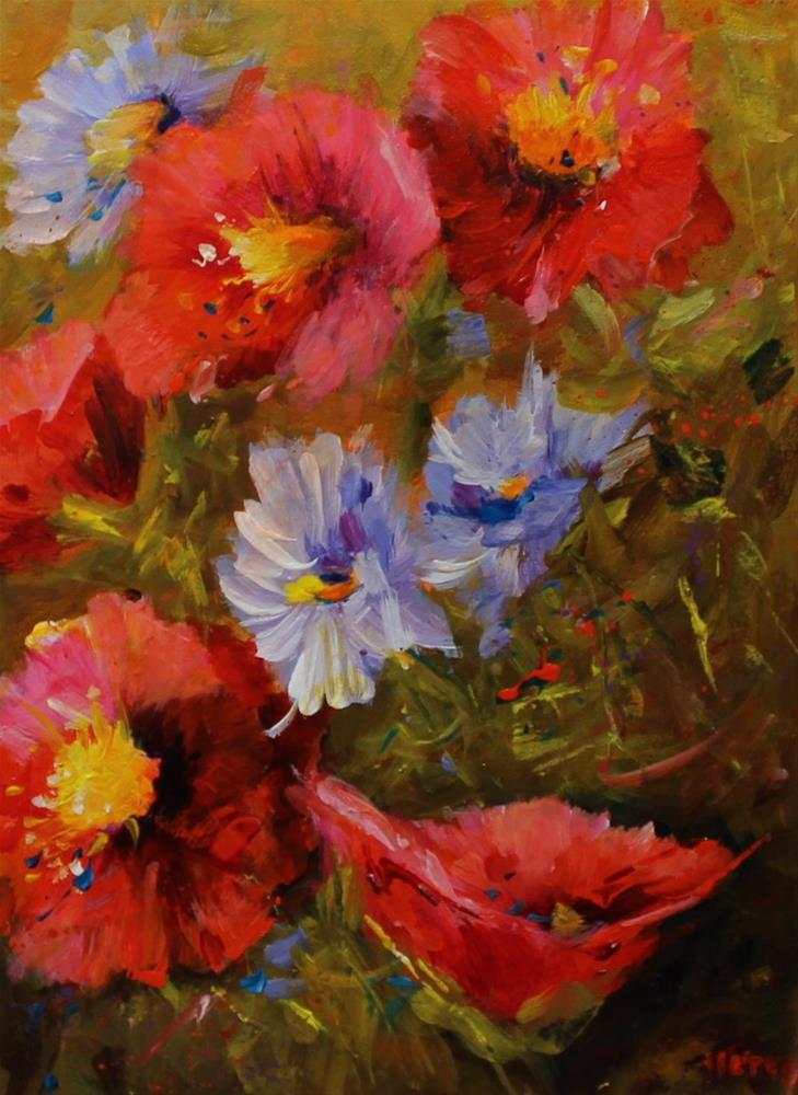 """Original floral flower poppy daisy art painting"" original fine art by Alice Harpel"