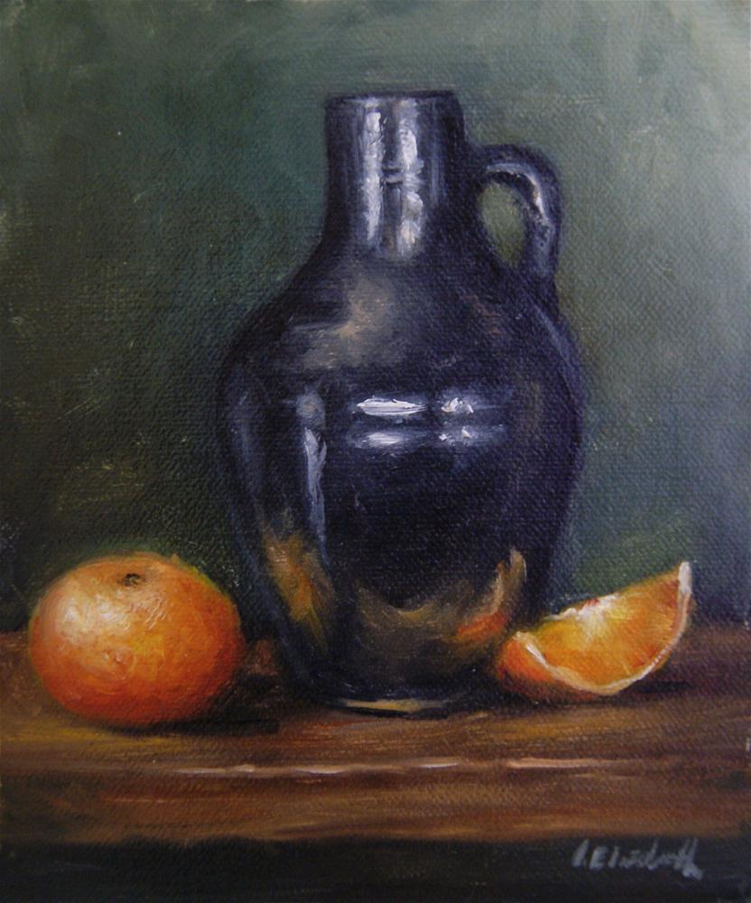 """Black Jug and Mandarins Still Life"" original fine art by Carolina Elizabeth"