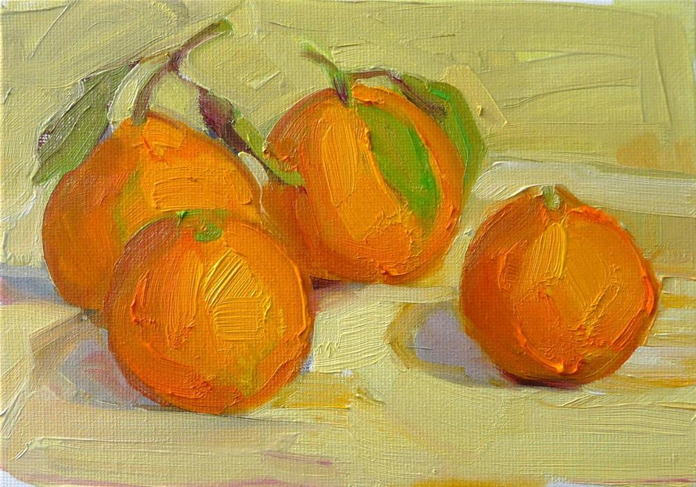 """More Satsumas,still life,oil on canvas,5x7,price$100"" original fine art by Joy Olney"