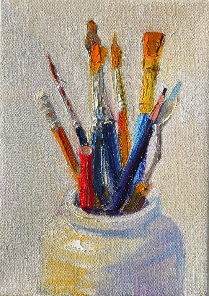 """Brushes and Pencils,still life,oil on canvas,7x5,price$175"" original fine art by Joy Olney"