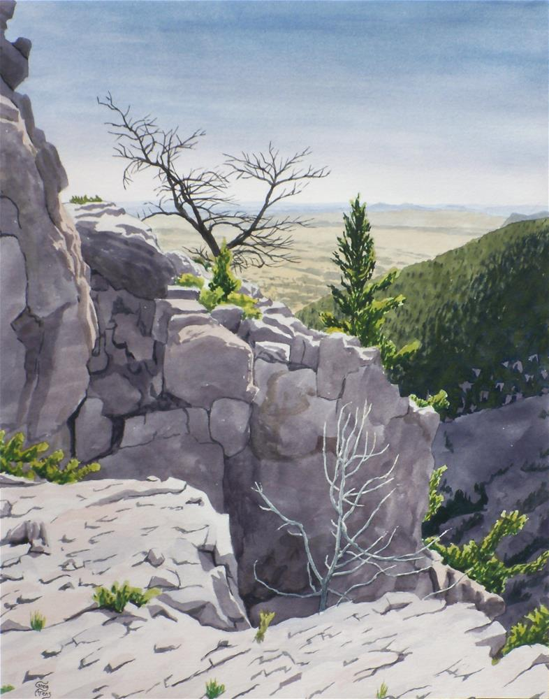 """Cliffside Rocks & Trees"" original fine art by Greg Arens"