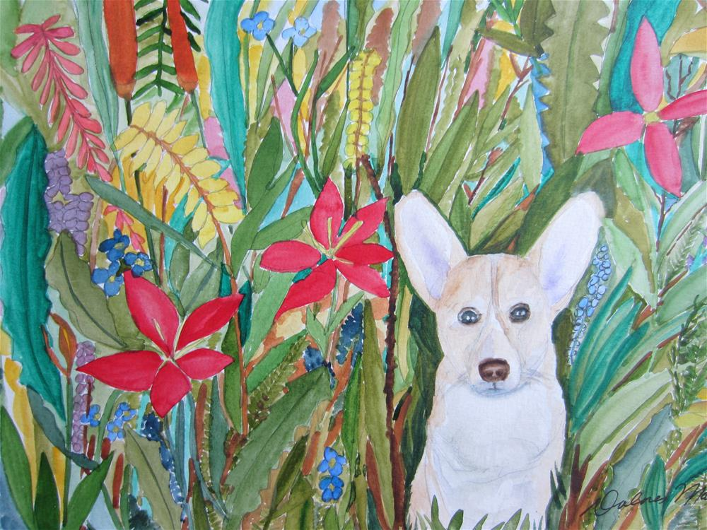 """Corgi in the Garden"" original fine art by Dolores Pettit"