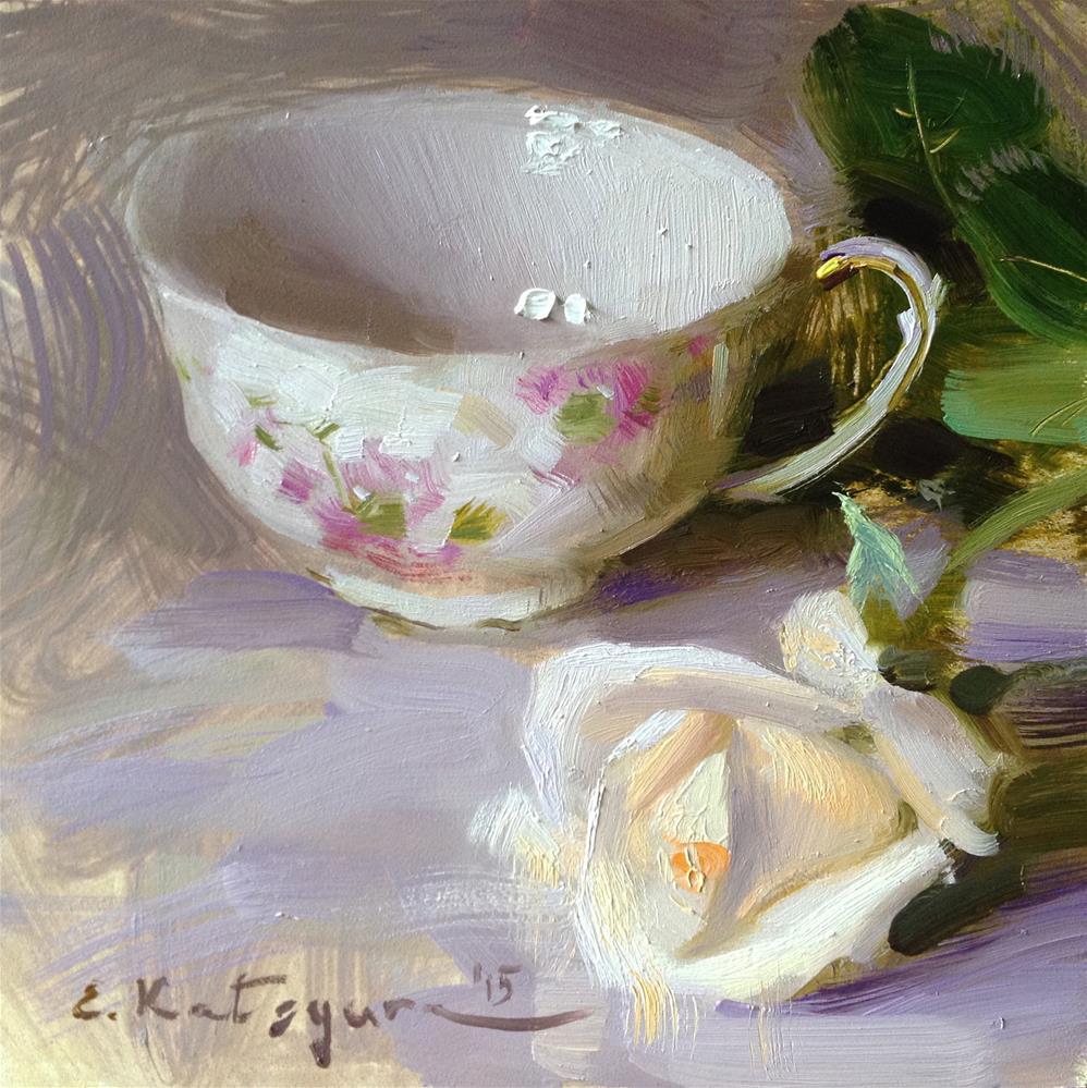 """Cup and Rose"" original fine art by Elena Katsyura"