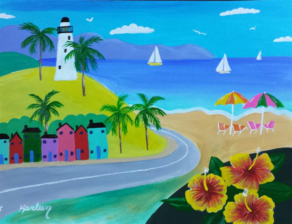 """The Drive Around the Lighthouse"" original fine art by Karleen Kareem"