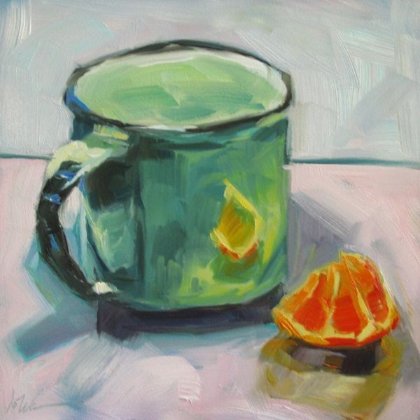 """GREEN AND ORANGE"" original fine art by Mb Warner"