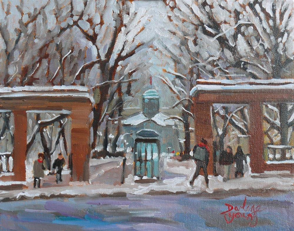 """919 Montreal Winter Scene, McGill University, oil on board, 8x10"" original fine art by Darlene Young"