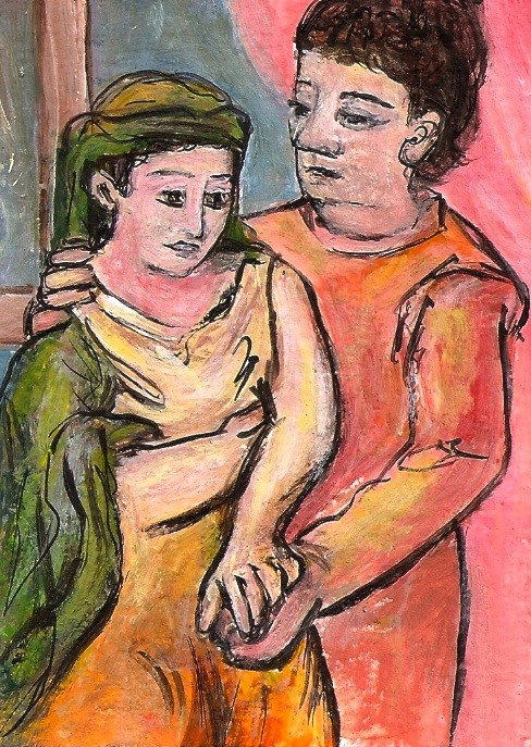 """ACEO The Lovers in the style of Picasso Expressionism Miniature by Penny StewArt"" original fine art by Penny Lee StewArt"