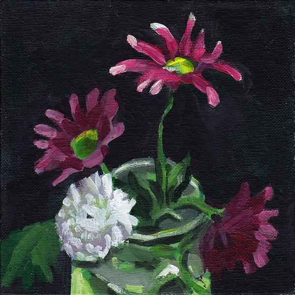 """Chrysanthemums on Black"" original fine art by J M Needham"