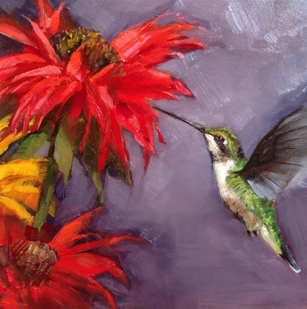 """Hummingbird & Red Sunflowers"" original fine art by Krista Eaton"
