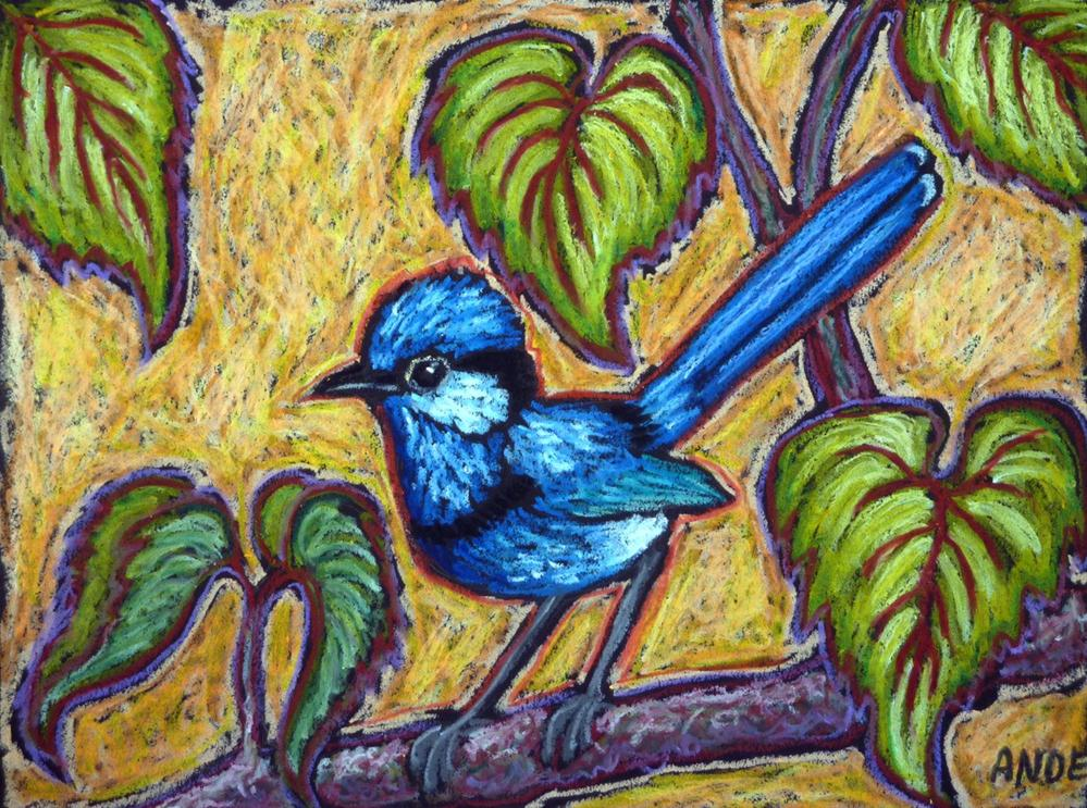 """Fairywren in the Forest"" original fine art by Ande Hall"