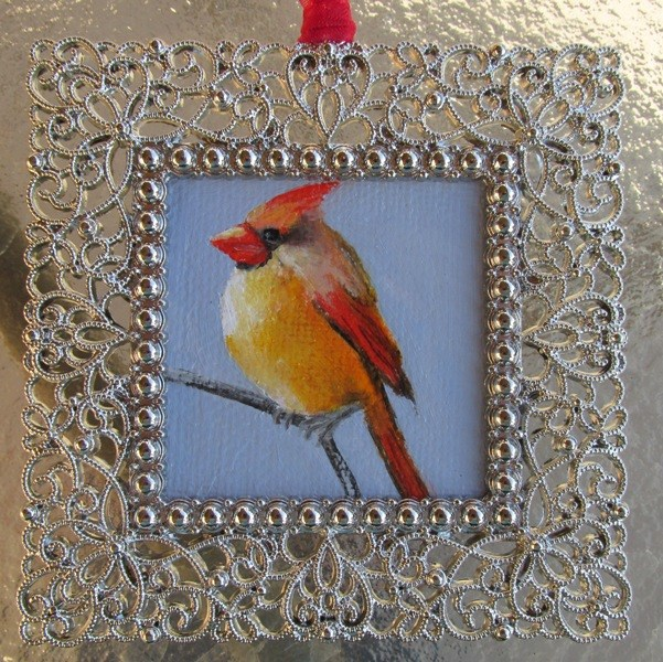 """Madame Cardinal Ornament"" original fine art by Ruth Stewart"
