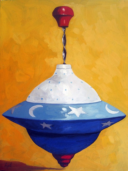 """Red, White and Blue Spin Top still life oil painting"" original fine art by Linda Apple"