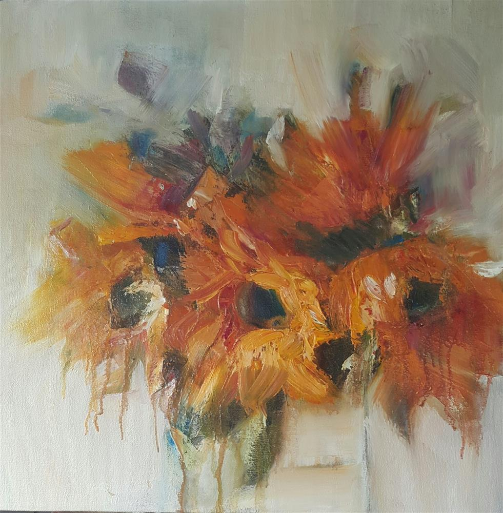 """Sunflowers in winter"" original fine art by Rentia Coetzee"