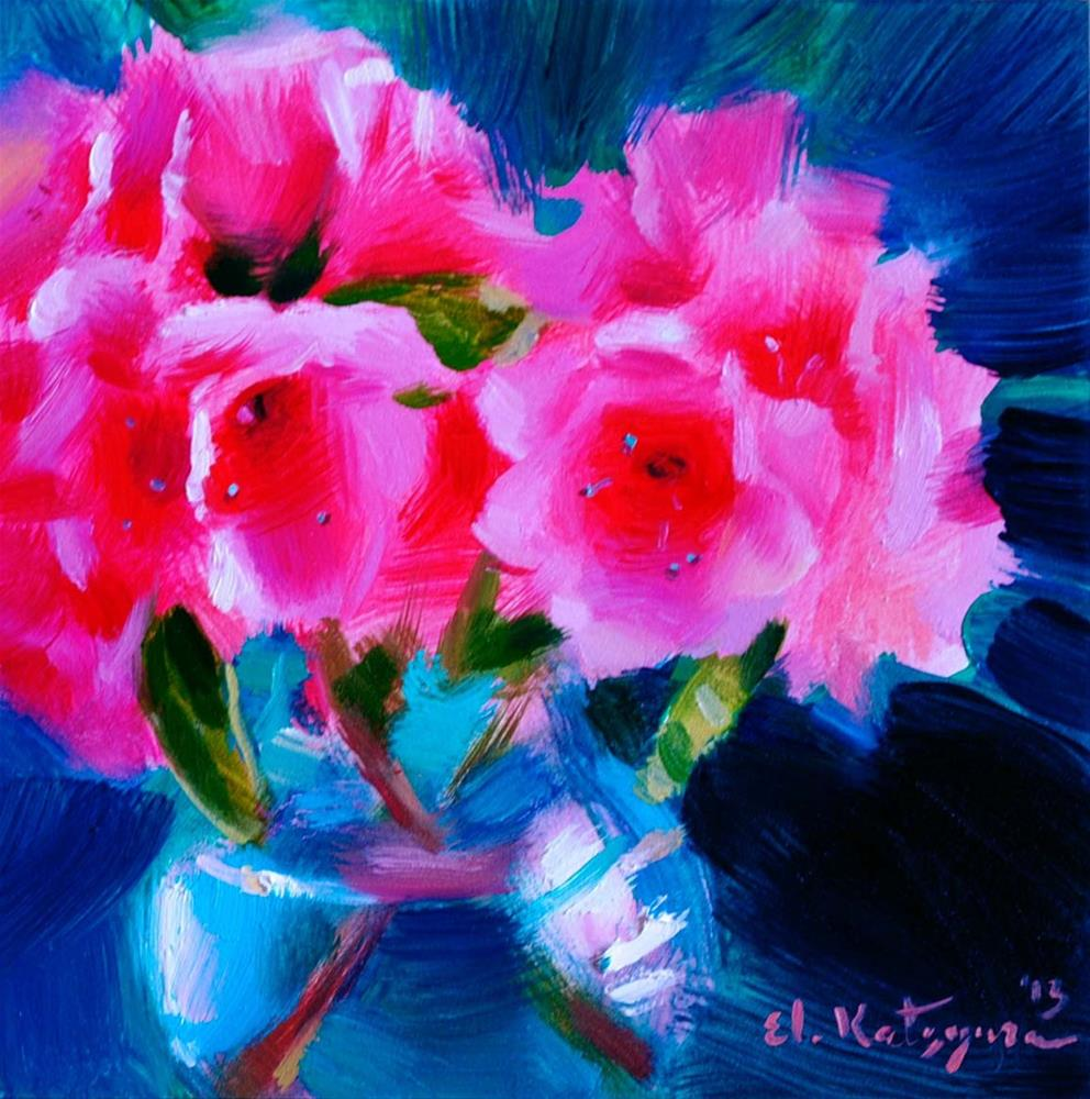 """Azalea on Green"" original fine art by Elena Katsyura"