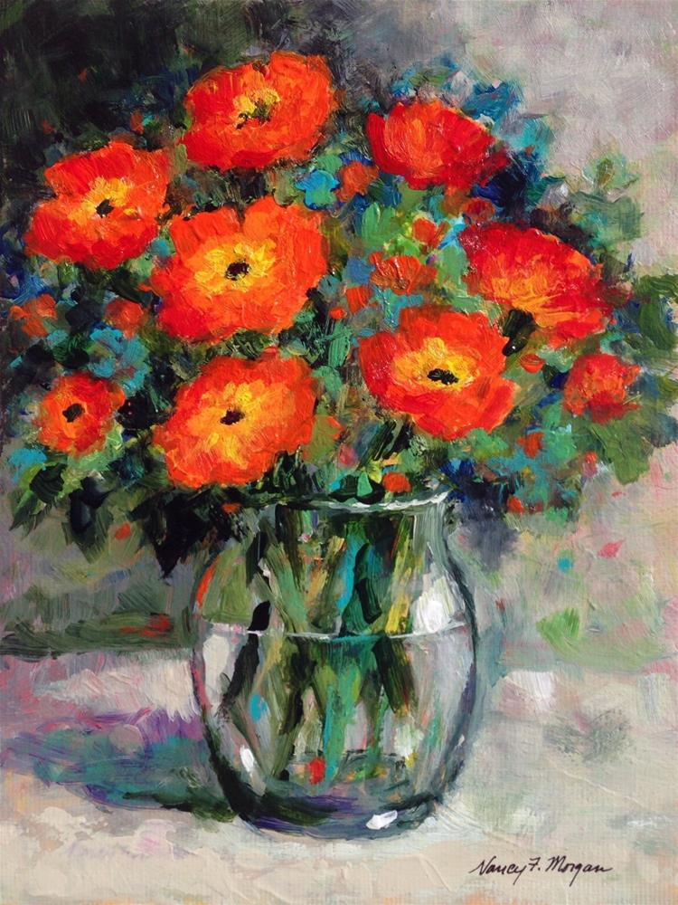 """Rainy Day Poppies"" original fine art by Nancy F. Morgan"