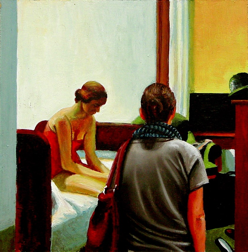 """Hotel Room- Woman Enjoying Painting By Edward Hopper"" original fine art by Gerard Boersma"