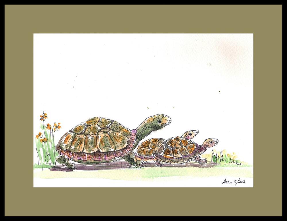 """late to school again!"" original fine art by Asha Shenoy S"