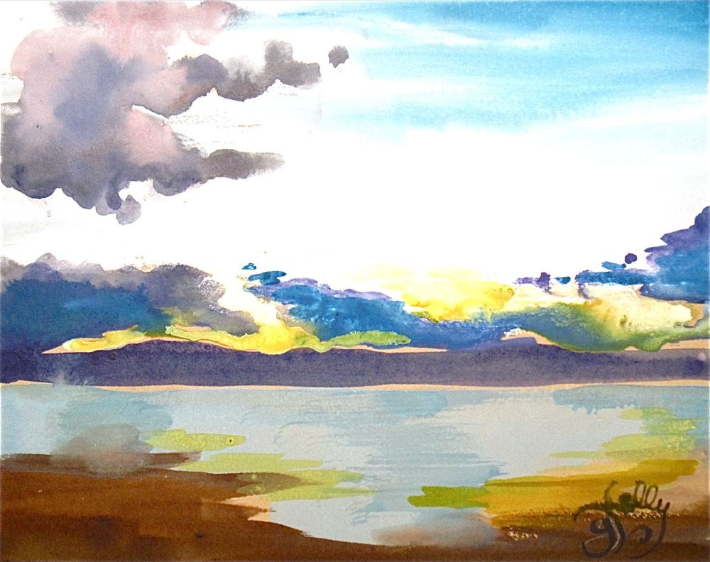 Parrish Sunset on the Hudson River  by Gretchen Kelly, New York Artist, miniature landscape original fine art by Gretchen Kelly