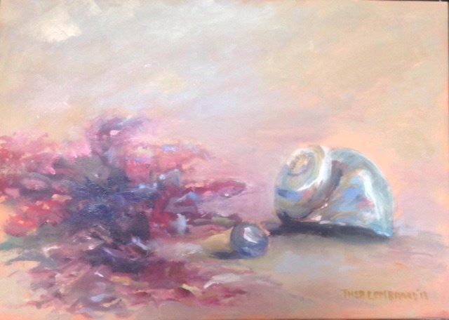 """Still Life with Seashells"" original fine art by Thea Lombaard"