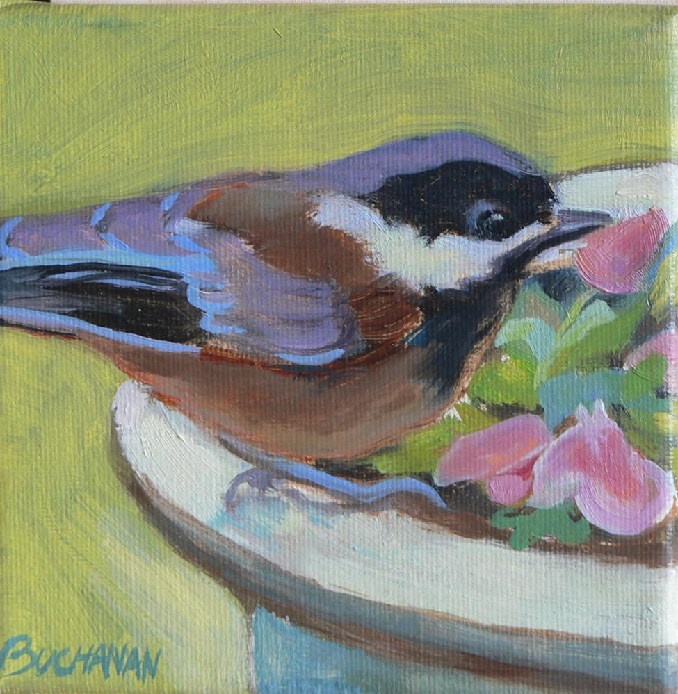 """Chickadee"" original fine art by Leigh Buchanan"