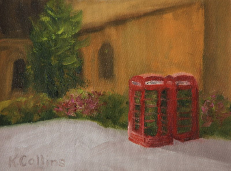 """Telephone Box"" original fine art by Kathy Collins"